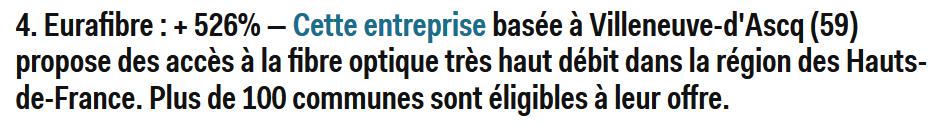 Eurafibre entreprise fibre optique Hauts-de-France Deloitte 2016