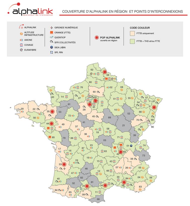 Alphalink partenaire Eurafibre carte réseau fibre optique France