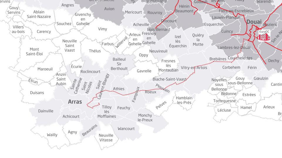 Couverture réseau fibre optique Arras Eurafibre juin 2019