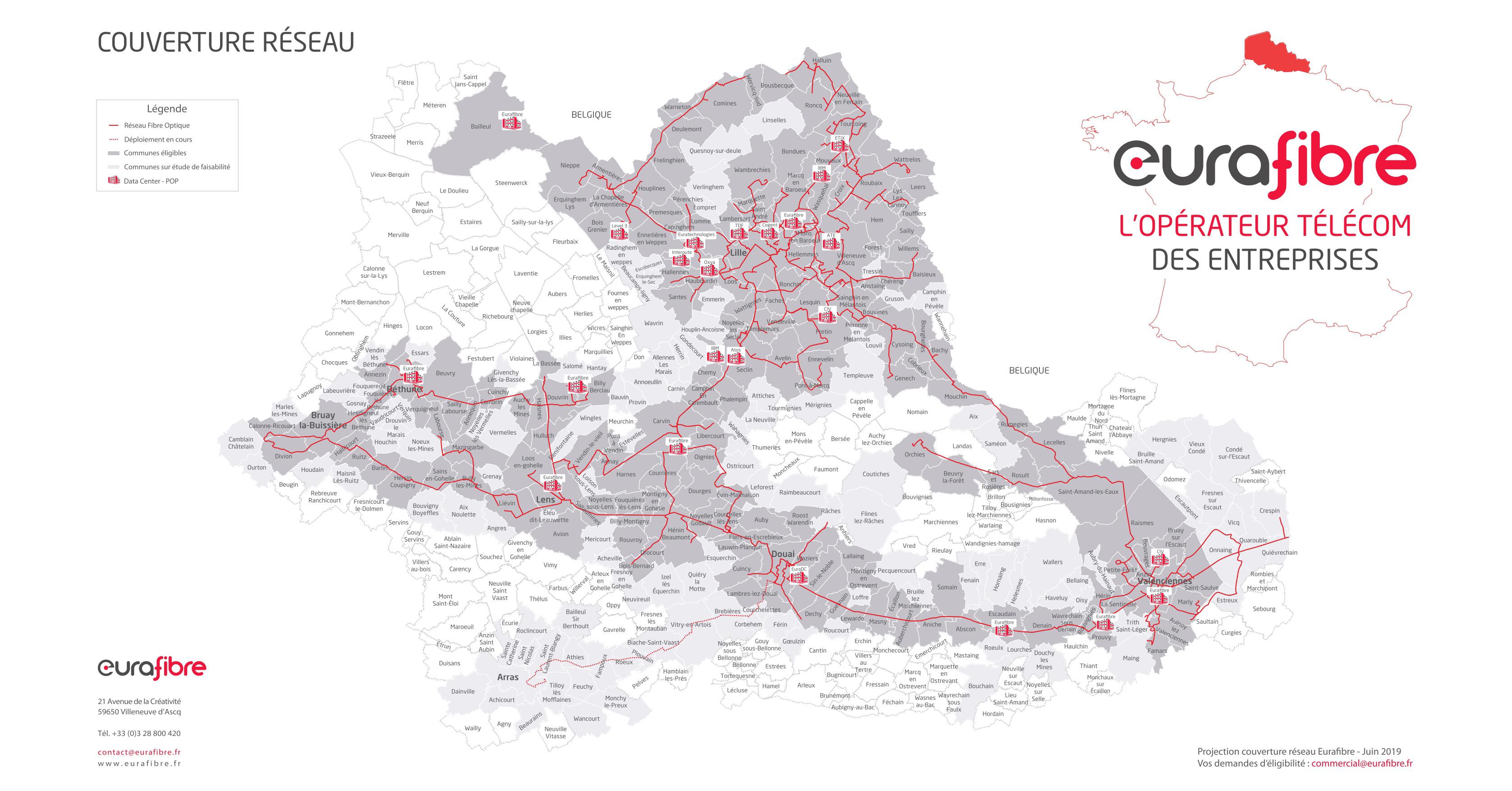 Couverture réseau fibre optique Nord-Pas-de-Calais Eurafibre juin 2019