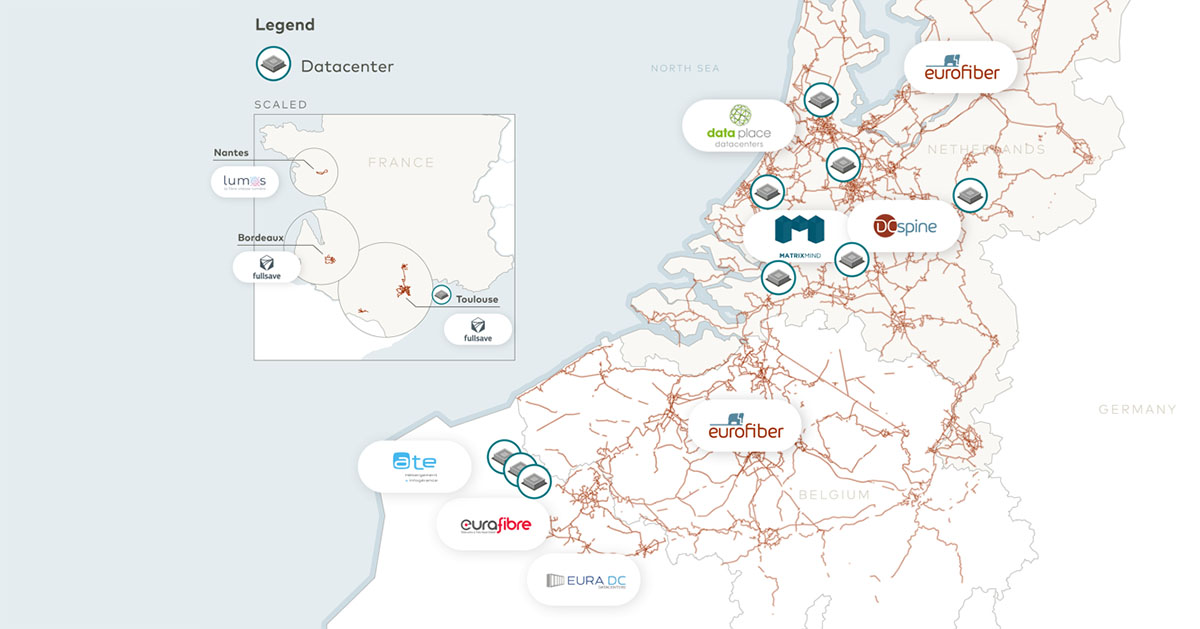 Carte réseau fibre optique Europe Eurofiber
